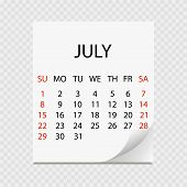 Monthly Calendar 2018 With Page Curl. Tear-off Calendar For July. White Background. Vector Illustrat poster