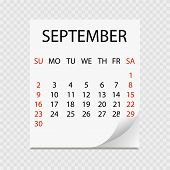 Monthly Calendar 2018 With Page Curl. Tear-off Calendar For September. White Background. Vector Illu poster