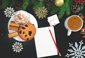 Christmas Background Or Xmas Card With Decorations Food, Ormament, Cup Of Coffee, Gift Present. Crea poster
