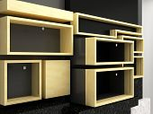 Display shelves wall