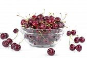 image of bing  - Bowl full of cherries on white background - JPG