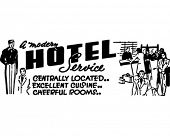 A Modern Hotel Service - Retro Ad Art Banner