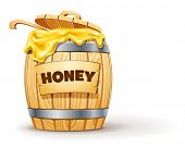 wooden barrel full of honey vector illustration isolated on white background