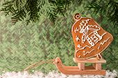 Christmas homemade gingerbread on a wooden sled. Christmas and New Year concept