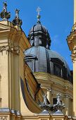 Church Dome And Statues In Munich, Germany