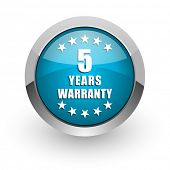 Warranty guarantee 5 year blue silver metallic chrome border web and mobile phone icon on white back poster