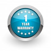Warranty guarantee 1 year blue silver metallic chrome border web and mobile phone icon on white back poster