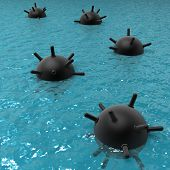 Floating mines at sea
