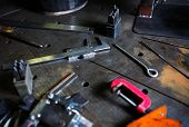Welder Workshop Table.trammel Callipers Tool And Ruler poster