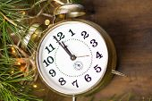 Vintage Clock And Christmas Lights poster