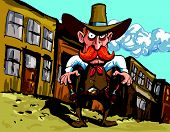 Cartoon cowboy sheriff in a dusty town street