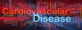 Background concept wordcloud illustration of heart cardiovascular disease glowing light