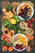 Healthy high fibre dietary food concept including fruit, vegetables, legumes, nuts, whole wheat past poster
