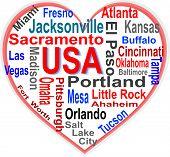 Nuvem de palavras de coração de EUA com maiores cidades americanas