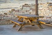 picnic table and shelter in  - Soapstone Prairie Natural Area, northern Colorado poster