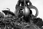 Crane Grabber Loading Metal Scrap, Monochromatic