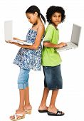 Children Standing And Using Laptops