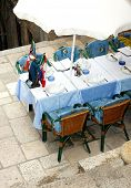A typical European street restaurant in Dubrovnik (Croatia)