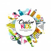 Kids Art Craft, Education, Creativity Class. Vector Banner, Poster With White Paper Background, Hand poster