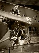 Engine and propeller of a world war antique plane. Black and White Sepia.