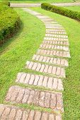 stock photo of pavestone  - Stone steps of footpath in the park - JPG