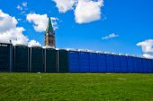 Portable Toilets In Front Of Canadian Peace Tower