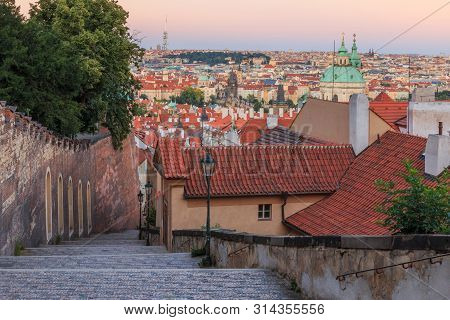 poster of Steps Lead From The Prague Castle Down To The District Lesser Town With Pananorma View Over The Old