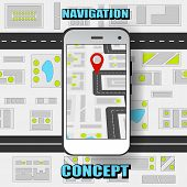 Colorful Global Positioning System Concept With Gps Navigator On Mobile And City Navigation Map Back poster