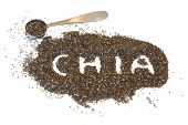 A Pile Of Chia Seeds With The Word chia Spelled Out, Scattered On A White Background. Metal Teaspo poster