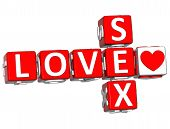 3D Love Safe Sex Crossword Text