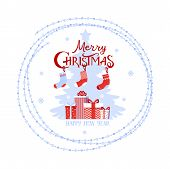 Christmas Logo, Phrase Happy Christmas, Boxes Of Gifts And Christmas Socks. Element For Design Postc poster