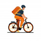Courier Person Character Riding A Bicycle With A Delivery Box. Courier Bicycle Delivery Service. poster