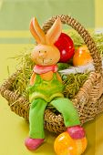 Easter bunny with Painted Ester eggs