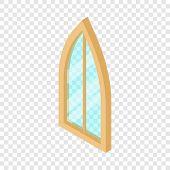 Sharp Corner Window Frame Icon. Isometric Illustration Of Sharp Corner Round Window Frame Vector Ico poster