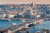 Beautiful Sunset Aerial Cityscape Of Istanbul Historic Centre With Galata Bridge And Mosques. Istanb poster