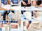 The Buyer Collects Ready-to-assemble Folding Table. Ready-to-assemble Furniture. Worker Opens The Bo poster