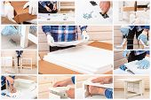 .the Buyer Collects Ready-to-assemble Folding Table. Ready-to-assemble Furniture. Worker Opens The B poster