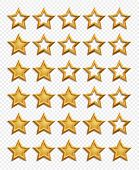 Five Stars Rating System. Gold Stars Rating Vector Isolated On Transparent Background. Star Rating Q poster