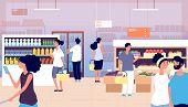 People In Grocery Store. Persons Buy Food, Vegetables In Supermarket. Shopping Customers Choosing Pr poster
