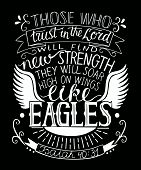 Hand Lettering With Bible Verse Trust In The Lord Will Find New Strength. poster