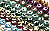 Casino Chip Stacked In Pattern Of Quantity Order