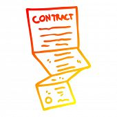 warm gradient line drawing of a cartoon complicated contract poster