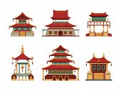 Traditional Buildings. Japan And China Cultural Objects Architecture Pagoda Gate Palace Heritage Vec poster