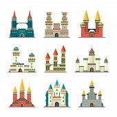 Castles Medieval. Fairytale Dome Palace With Big Towers Vector Pictures Of Medieval Constructions In poster