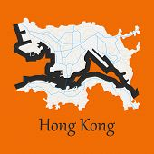 Flat Icon In Form Of Hongkong Continent, Geography, Graphic, poster