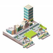 City Subway. Urban Landscape Infrastructure With Buildings And Cross Section Railway Metro Vector Lo poster