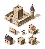 Castles Isometric. Medieval Historical Cartoon Architecture Buildings Ancient Farm Houses Vector Cas poster