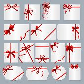 Gift Card Frames. Red Ribbons Gift Banners With Place For Text Vector Collection. Box Gift With Red  poster