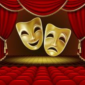 Theater Masks On A Red Background. Golden Masks. Theater Scene. Mesh. Clipping Mask poster