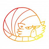 warm gradient line drawing of a cartoon grumpy cat poster